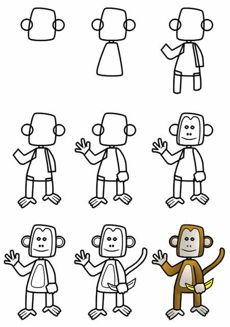 Как научиться рисовать обезьяну шаг за шагом
