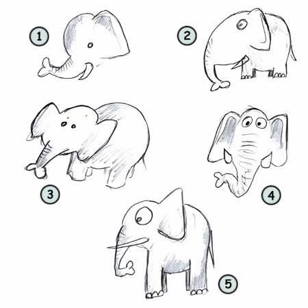 Нарисовать мультяшного слона